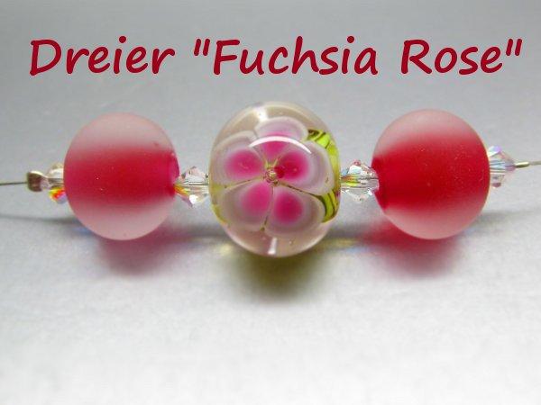 Dreierset handgemachte Glasperlen fuchsia