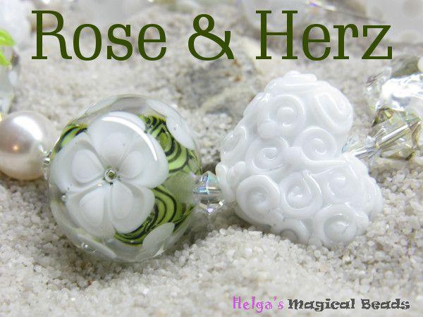 Handgefertigte Glasperlen Perlenset Blütenperle