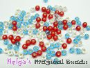 TOHO Rocailles 2,6 mm Red & Turquoise & Crystal Mix (a)